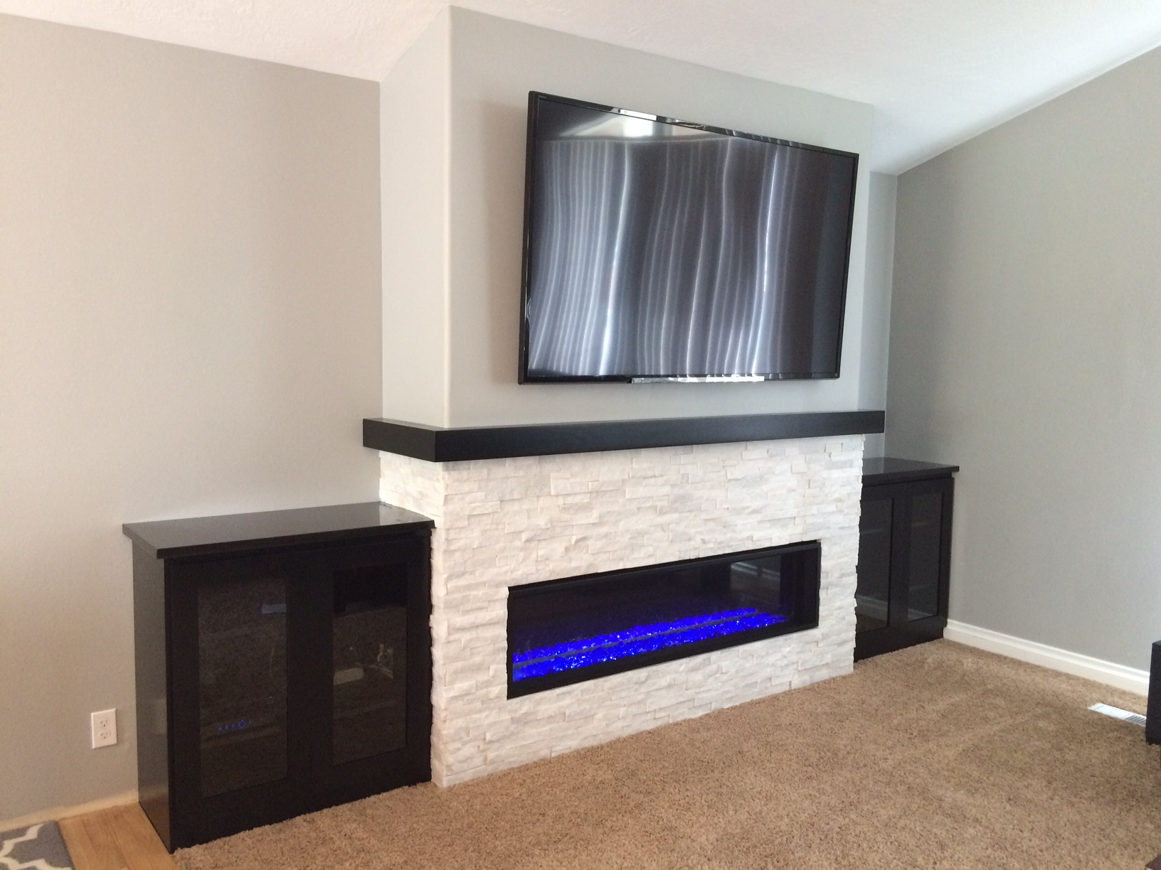 our linear fireplace remodel complete